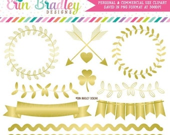 80% OFF SALE Gold Foil Clipart Graphics Instant Download Gold Vines Bunting Borders & Frame Clip Art Graphics