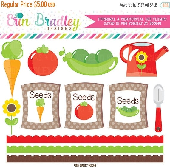 80 OFF SALE Garden Clipart Vegetables Seeds Flowers Digital Clip Art Graphics With Scalloped Borders Commercial Use