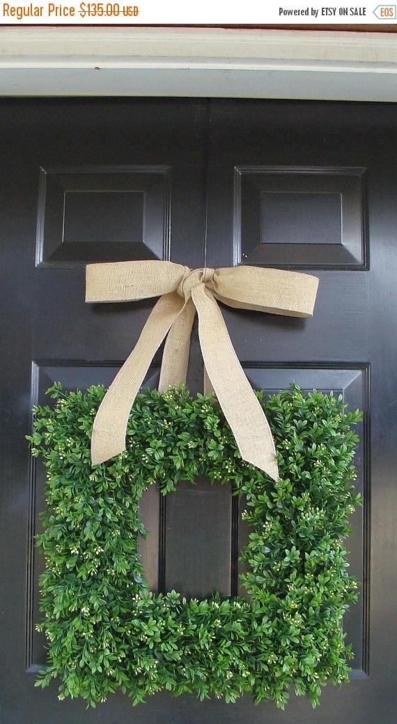 SUMMER WREATH SALE Spring Wreath- Wedding Wreath- Artificial Boxwood Wreath with Burlap Bow- Square Wreath- Holiday Wreath Decor- 24 Inch
