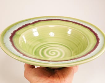 Serving Bowl - Flared Bowl - Green Bowl - Decorative Bowl - Pottery Charger - Ceramic Bowl - Pottery Bowl - Bowl With Flared Rim - In Stock