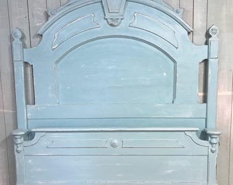 Full beach cottage aqua distressed Victorian bed frame