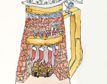 Christmas Cards, Beer Stein: Stockings in Fireplace, Set of 4 Blank Note Cards, 4.25x5.5 inches