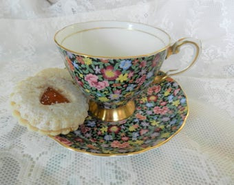 Tuscan Chintz Teacup, Floral Chintz Teacup, Mille Fleurs Teacup, Thousand Flowers Tea Cup, no 25