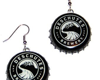 Deschutes Brewery Beer Bottle Cap Earrings Jewelry - From actual Bottle Caps