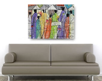 Family Bond, African American Art, Canvas Art, Canvas Wall Art,Home Decor Art, Canvas Painting,Abstract Art, Wall Art