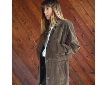 20% off SUMMER SALE. . . Brown Leather Mid Length Jacket Coat - Vintage 90s - M