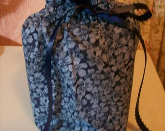 Blue Flowered Tissue Box/Toilet Paper Cover