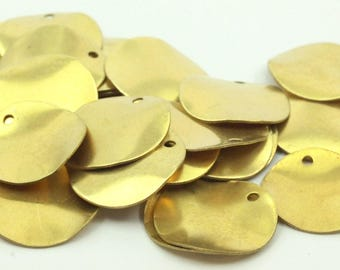 Brass Round Charm, 25 Raw Brass Round Disc Charms (16mm) A0497