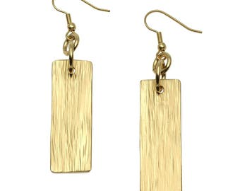 Nu Gold Brass Bark Dangle Earrings - Gold Dangle Earrings - Handmade Red Brass Jewelry for Women - Gifts for Her