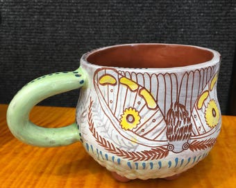 Moth, green and white sgrafitto carved ceramic mug, unique one of a kind pottery
