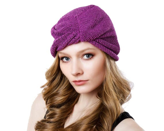 Turban Hat Hand Knit Beanie Women's Evening Wear Spring Fashion 1920's Hat Spring Accessories Orchid Pink Knit Beret Holiday Wear Gift Her