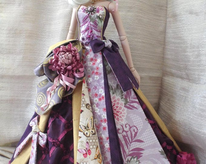 Plum and Gold Gown for Smart Doll and Dollfie Dream