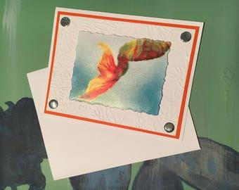 Mermaid Note Card with Envelope, Mermaid, Mermaids, Mermaid Tail, Handmade Note Card, Blank Note Card