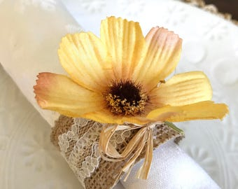 Napkin Ring:  Yellow Daisy with burlap and lace - Spring - Easter - shower - housewarming -Dinner Party