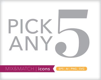 Pick any five minimal line icons | EPS AI PNG | Geometric Clipart Design Elements Digital Download