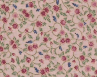 Calico Cotton Fabric Pale pink background with small red daisies leaves and stems 27 inches long quilting Feed sack looking