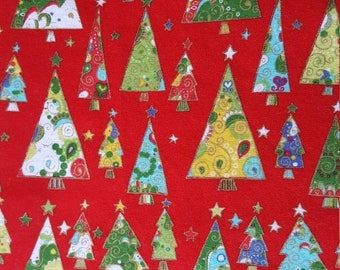 SALE Christmas Trees Table Runner Red with Gold Metallic Padded