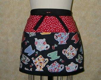 Teapots cup and saucer cherries apron cotton fully lined deep pockets 3 sections across front top stitched red white dot 1930s prints