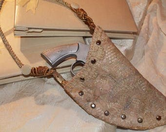 Bridal gun holster purse rustic country western cowboy wedding custom bridal vintage materials made to order choose decorative details