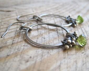Deep Green Peridot Hoop Earrings, Hoop Dangles, Boho Hoops, August Birthstone, Birthstone Earrings