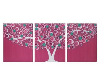 ON SALE Pink Wall Art for Girl Bedroom - Tree Painting on Canvas Triptych - Medium 35x14