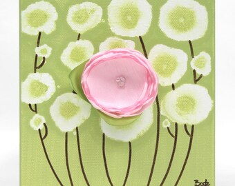 Mini Canvas Art Original Painting of Flowers in Green and Pink, Gift for Girl - Mini 6x6
