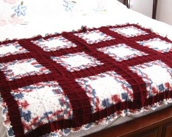 Hand Crocheted Afghan Crocheted Afghan Wine and Grey Afghan Hand Crocheted Throw Lacy Crocheted Throw Lattice Pattern Afghan Hand Crocheted