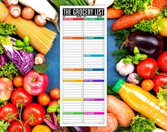 The Grocery List Notepad WIDE LINES (large magnetic refrigerator note pad for groceries, shopping list, organized into sections)