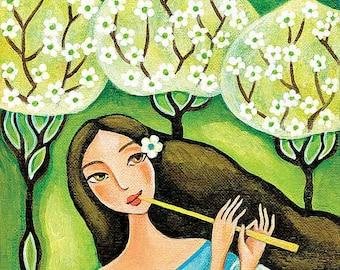 folk art forest fairy gift ideas for girl room wall decor art for women healing art print 8x11+