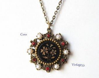 Coro Rhinestone Pearl Glass Pendant Necklace 1940