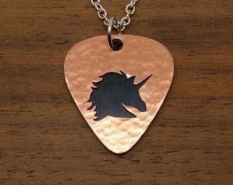 Unicorn Necklace, Unicorn Pendant, Hammered Copper, Guitar Pick Pendant, Keyring, Chain, Copper Overlay, Unicorn Keyring, Chain Or Key Ring