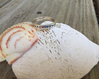 Make waves-sterling silver ring-hand stamped-stacking ring-size 7-beach jewelry