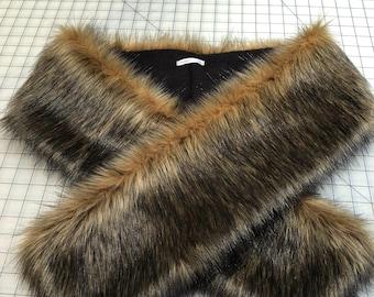 Faux Fur Scarf, Black tip brown fox Faux Fur Scarf, Women's Long Fur Scarf