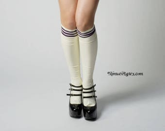 LATEX Knee-High Socks with top stripes, made to order by NimuesLatex