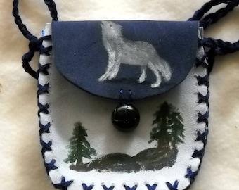 Timber Wolf Shaman Medicine Bag, Spell Bag