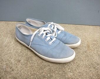 Denims KEDS Light Blue Canvas Jean Tennis Shoes Vintage Preppy tennies Simple Basic Lace Up Kicks Hipster Preppy Tie Shoes Womens Size 9