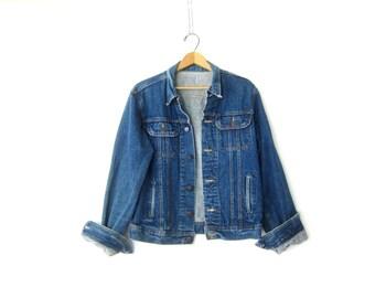 Denim Trucker Jacket Dark Denim Jean Jacket 80s Rugged Blue Jean Jacket Coed 1980s Dakota Jacket Size Small Medium