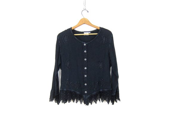 90s India Top Dark Blue Embroidered Blouse Embroidery Top Loose Fit Boho Hippie Long Sleeve Lace Shirt Vintage Womens Size Small Medium
