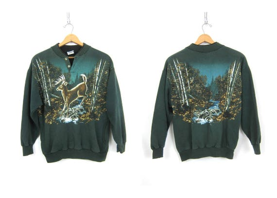 Green Deer sweatshirt Jumper sweater Hipster Shirt Nature Outdoor Hunting Novelty Animal Sportsman Sweatshirt with Pockets size Medium Large