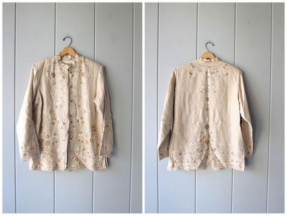 90s Natural Linen Shirt Jacket Beige Minimal Modern Embroidered Long Sleeve Kimono Jacket Floral Top Knot Buttons Vintage Womens Medium