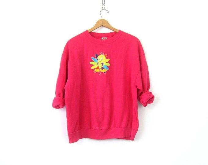 Pink Tweety Bird sweatshirt slouchy sweater Basic Casual Sweater Plain shirt Looney Tunes Cartoon Novelty Top Women's XL 2XL