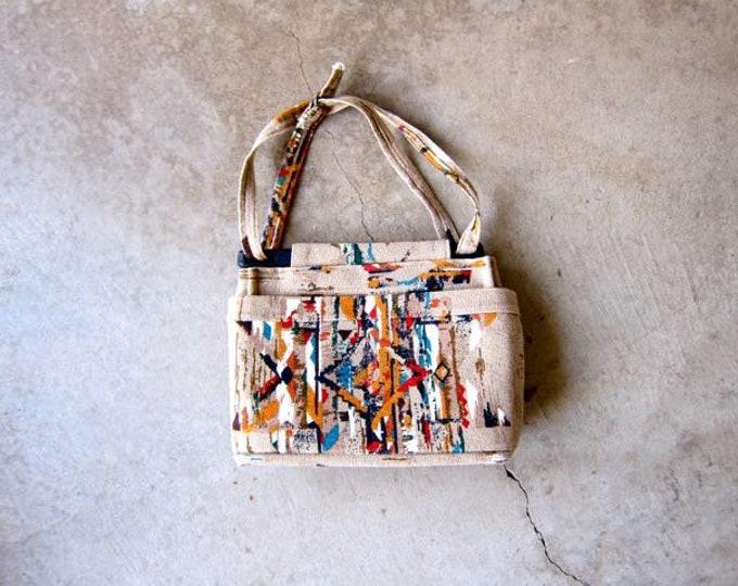Southwestern Print Fabric Purse | 70s Tapestry Bag | Abstract Print Boho Shoulder Purse