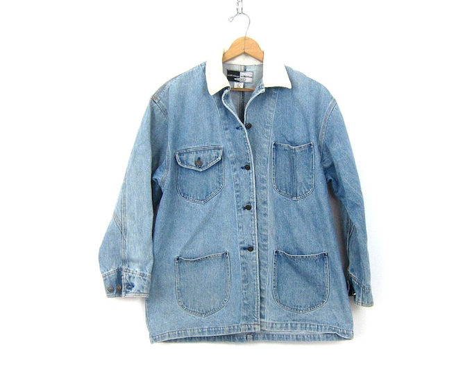 Vintage 90s Barn Jacket Medium Wash Denim Jean Jacket Chore Coat Preppy Button Down Pocket Coat Spring Button Up Jean Jacket Womens Medium