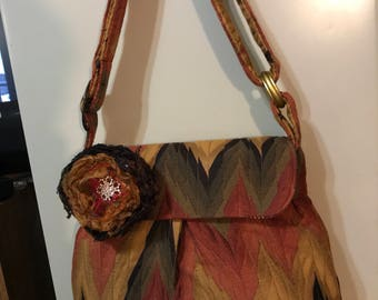 Quilted Chevron Chenille Sweet Pea Purse in Fall Colors