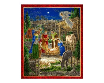 "36"" Fabric Panel - Quilting Treasures Holy Gathering Manger Nativity Wallhanging"