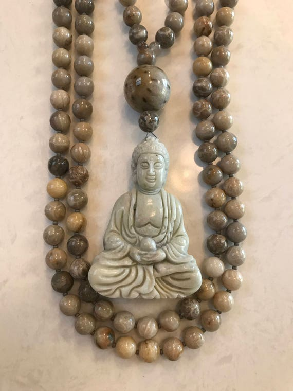 Fossil Coral and Jade Mala/Prayer Beads