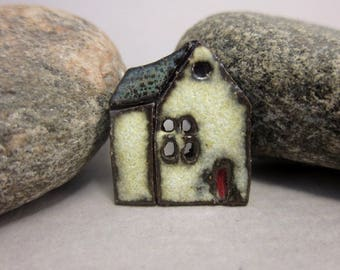 Rustic Ceramic House Button...Village School...Nightsky Blue Roof