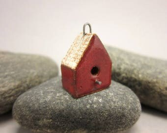 BirdHouse Pendant...Red Walls / Eggshell Roof