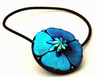 Peacock Blue Iridescent Glass Ponytail Holder made with Czech Glass Button,  Black Glass Elastic Hair Tie, Fancy Hair Accessory