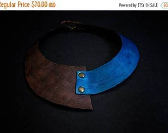 40% OFF SALE Leather collar necklace Elegant copper and blue color Jewelry Pendant Statement Wide asymmetric collar